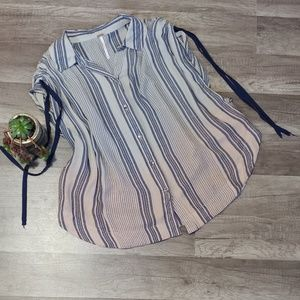 Free People ombre striped button down blouse, xs